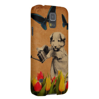 Vintage Puppy Flowers Butterfly Grunge Galaxy S5 Covers
