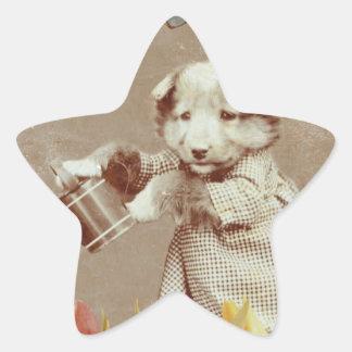 Vintage Puppy Flowers Butterfly Grunge III Star Sticker