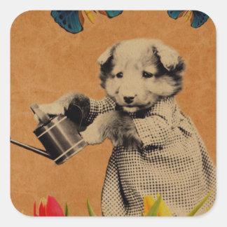 Vintage Puppy Flowers Butterfly Grunge Square Sticker