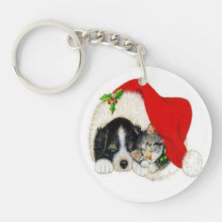 Vintage Puppy Kitty Christmas Single-Sided Round Acrylic Key Ring