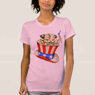 Vintage Puppy with Flag Ladies Petite Shirt