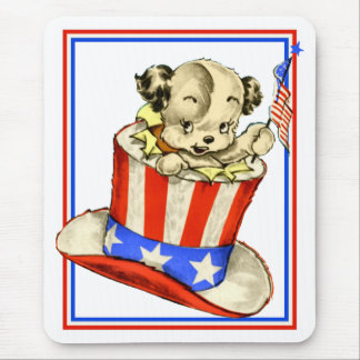 Vintage Puppy with Flag Mousepad