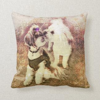 Vintage Pups- Alabaster Patina Throw Pillow