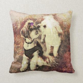 Vintage Pups- Copper Rose Patina Throw Pillow