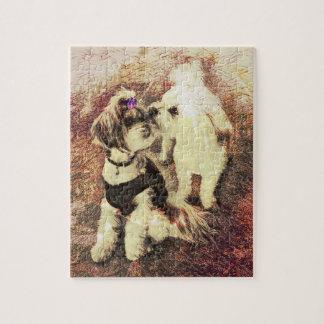 Vintage Pups set in Copper Rose Patina Puzzle