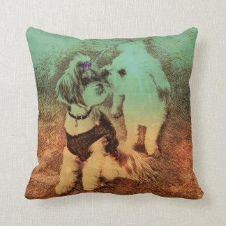 Vintage Pups- Verdigris Patina Throw Pillow
