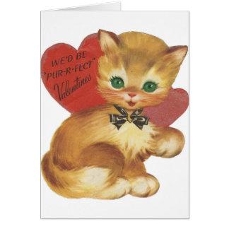 Vintage Pur-r-fect Valentine Greeting Card