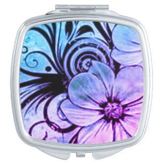 Vintage Purple and Blue Floral Mirror For Makeup