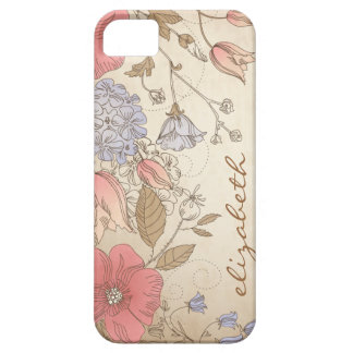 Vintage Purple and Red Flowers iPhone 5 Case