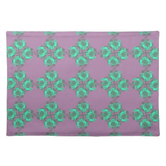 Vintage Purple and Teal Floral Print Place Mats