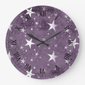 vintage purple background with silver stars large clock