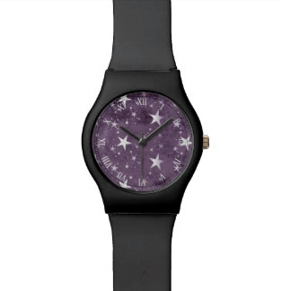 vintage purple background with silver stars wrist watch