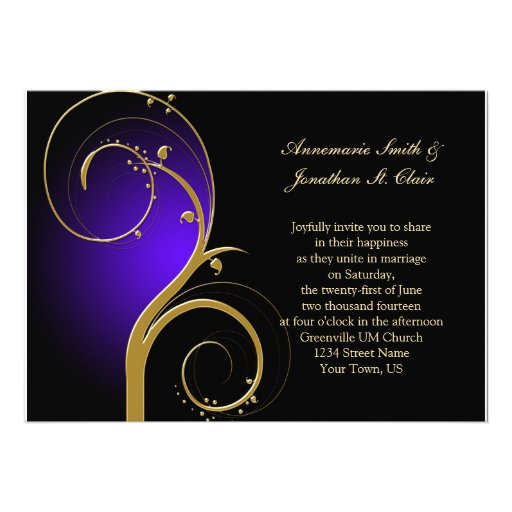 Vintage Purple Black and Gold Wedding Invitation