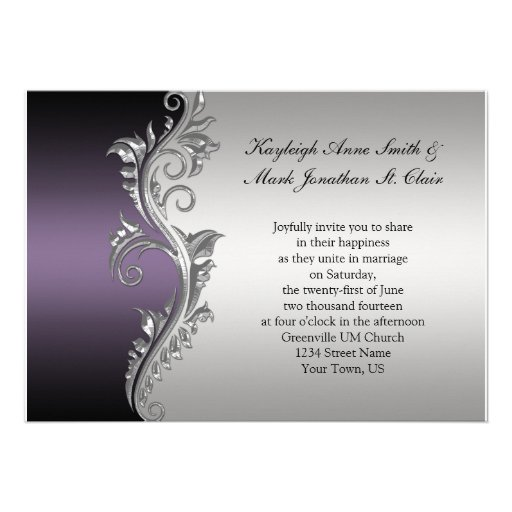 Vintage Purple Black and Silver Wedding Invitation