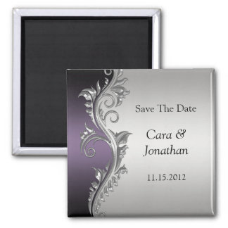 Vintage Purple Black Silver Save The Date Square Magnet