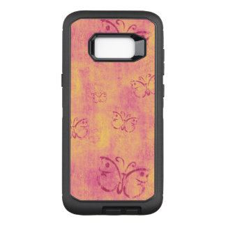 Vintage Purple Butterflies on Pink OtterBox Defender Samsung Galaxy S8+ Case