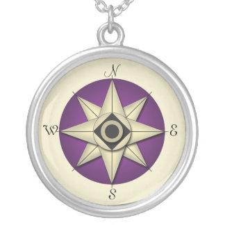 Vintage Purple Compass Gold Necklace