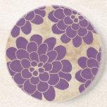 Vintage Purple Dahlia Floral Wedding Drink Coasters