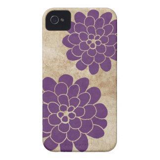 Vintage Purple Dahlia Floral Wedding iPhone 4 Case-Mate Cases