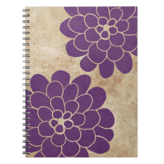Vintage Purple Dahlia Floral Wedding Note Books