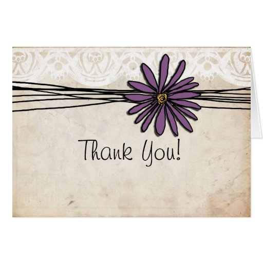 Vintage Purple Daisy Wedding Thank You Note Greeting Cards