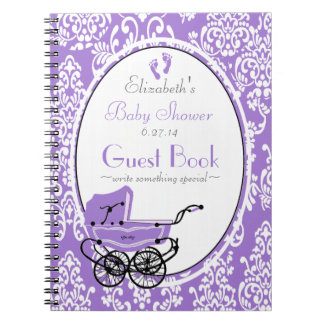Vintage Purple Damask Baby Shower Guest Book Spiral Note Book