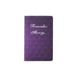 Vintage Purple Damask CUSTOM MESSAGE Pocket Moleskine Notebook