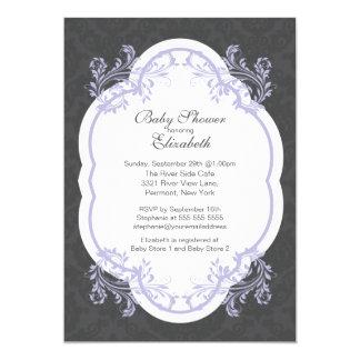 Vintage Purple Damask Girls Baby Shower Invitation
