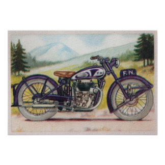 Vintage Purple F.N. Motorcycle Print