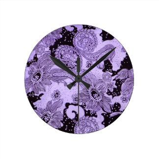 Vintage Purple Floral Fabric Wallclock