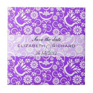 "Vintage purple floral ""Save the date"" Tile"