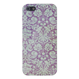 Vintage Purple Floral Wallpaper iPhone 5 Covers