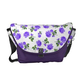 Vintage Purple flowers white bag Messenger Bags