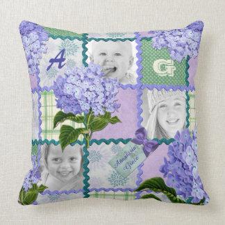 Vintage Purple Hydrangea Instagram Photo Quilt Cushion