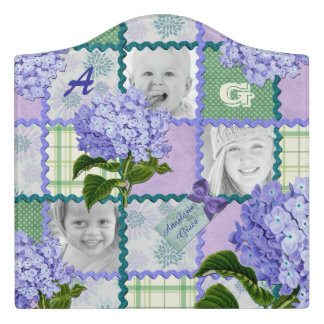 Vintage Purple Hydrangea Instagram Photo Quilt Door Sign