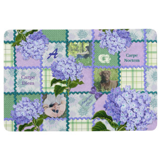 Vintage Purple Hydrangea Instagram Photo Quilt Floor Mat