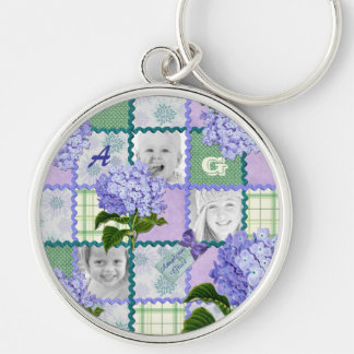 Vintage Purple Hydrangea Instagram Photo Quilt Key Ring