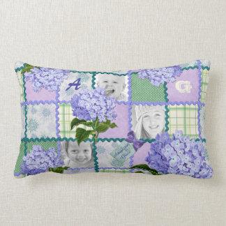Vintage Purple Hydrangea Instagram Photo Quilt Lumbar Cushion