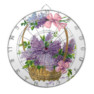 Vintage Purple Lilacs Antique Flower Bouquet Dartboard