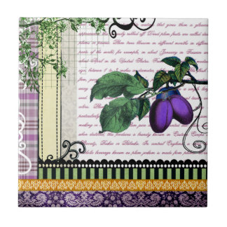 Vintage Purple Plum fruit kitchen trivet / tile