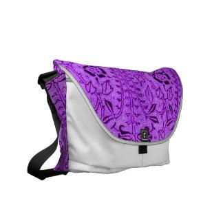 Vintage Purple Red Floral Messenger Bag