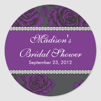 Vintage Purple Rose Bridal Shower Sticker