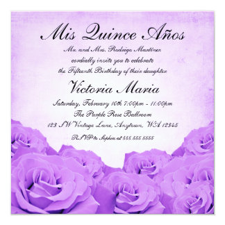 Vintage Purple Rose Quinceanera Birthday Party 5.25x5.25 Square Paper Invitation Card