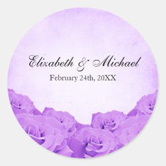 Vintage Purple Rose Wedding Favor Label Round Sticker
