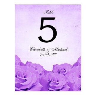 Vintage Purple Rose Wedding Table Number Postcard