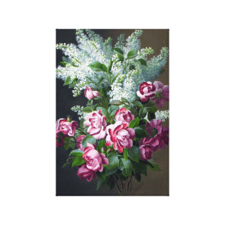 Vintage Purple Roses and White Lilacs Canvas Prints
