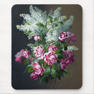 Vintage Purple Roses and White Lilacs Mouse Pad