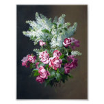 Vintage Purple Roses and White Lilacs Photographic Print