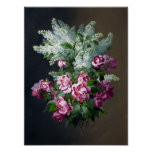 Vintage Purple Roses and White Lilacs Poster