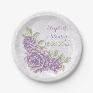 Vintage purple roses floral wedding 7 inch paper plate
